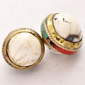 Conch-Shell-Brass-2-Beads-Gypsy-Boho-Bohemian-Ethnic-Nepal-Tibetan-AA319