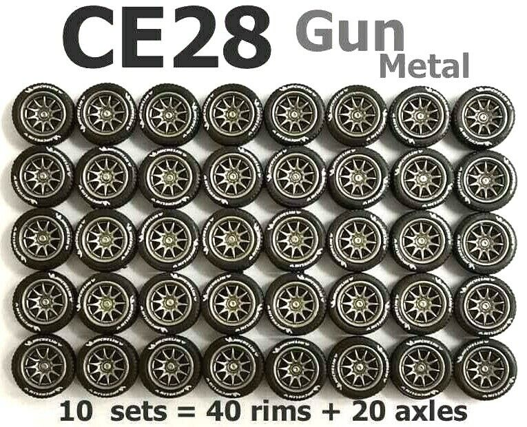 1 64 rubber tires - - - CE28 gun metal rim fit Hot Wheels matchbox diecast - 10 sets 441dcc