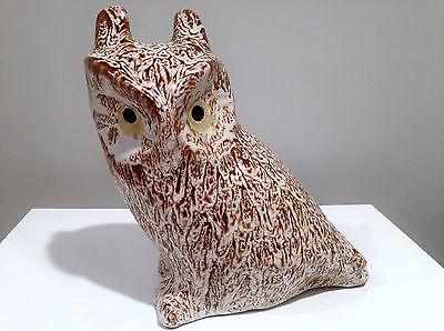 Huge Pigeon Forge Pottery Horned Owl Signed Douglas Ferguson
