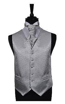 Mens & Boys Silver Scroll Wedding Formal Waistcoats