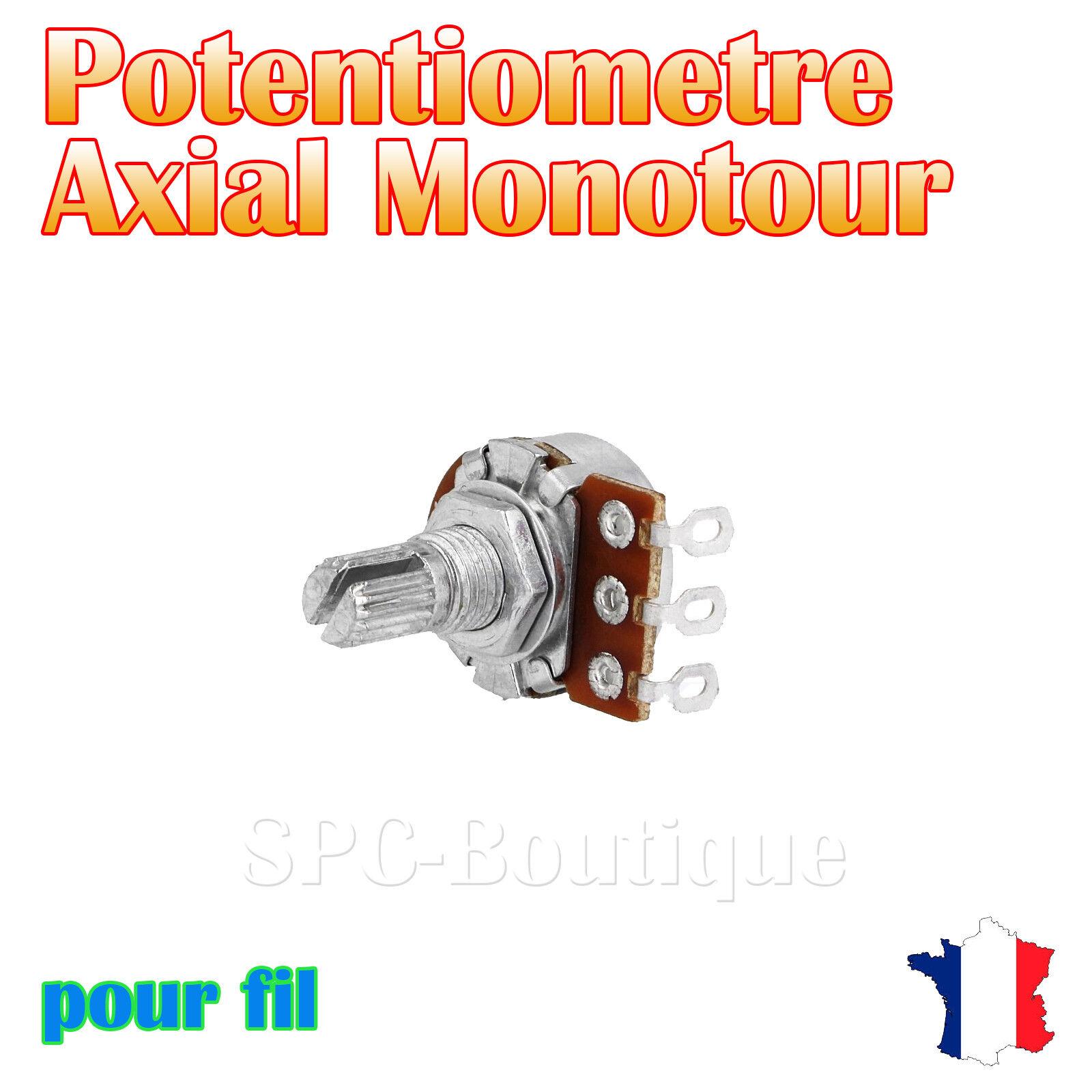 1x Potentiomètre mono logarithmique Axial 220KΩ (A220K), pour fil fil fil a soudé d11716