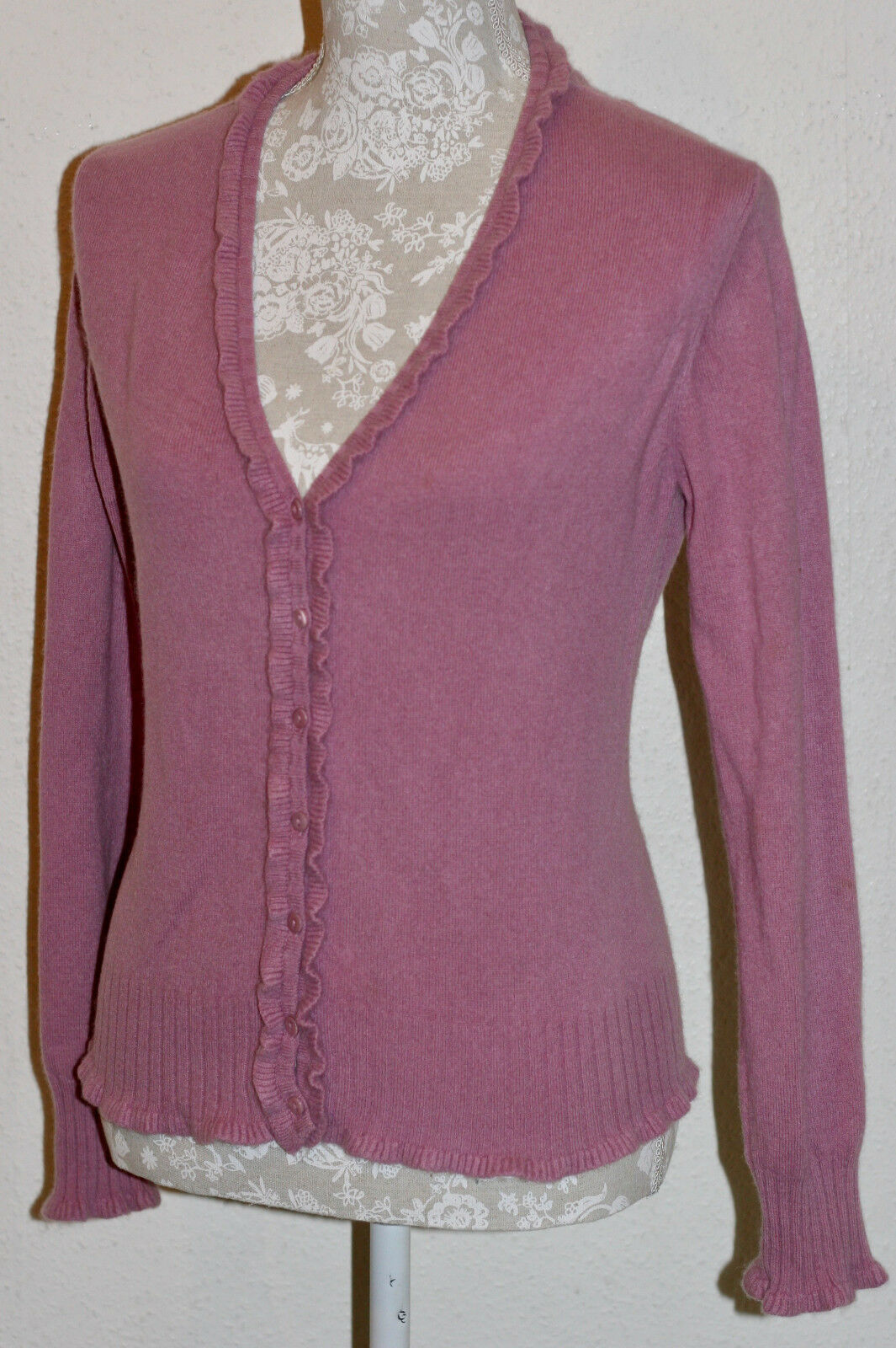 100% CASHMERE M 12 GC FONTANA ANTIQUE PINK RUFFLED & FLUTED SOFT KNIT CARDIGAN