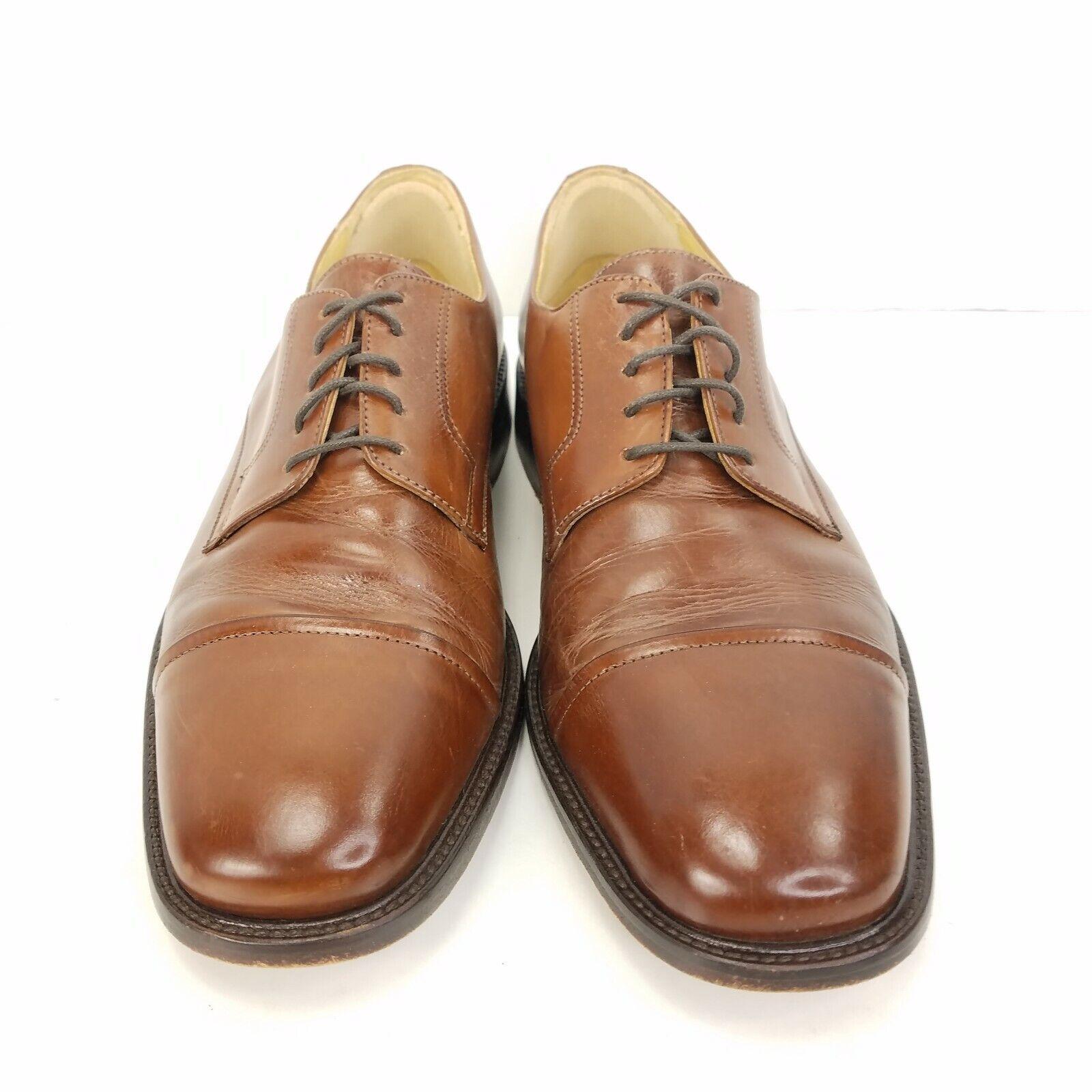 Johnston & Murphy Brown Novick Cognac Cap To Dress Shoes Mens Sz 8.5 Style 11056