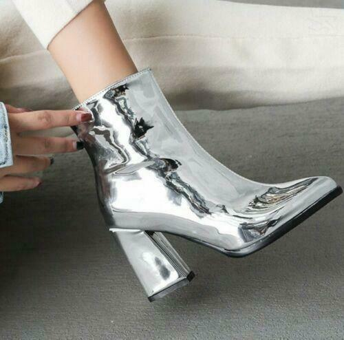 Womens Pointy Toe Ankle Boots Block Heels Patent Leather Zipper Shoes Plus Size
