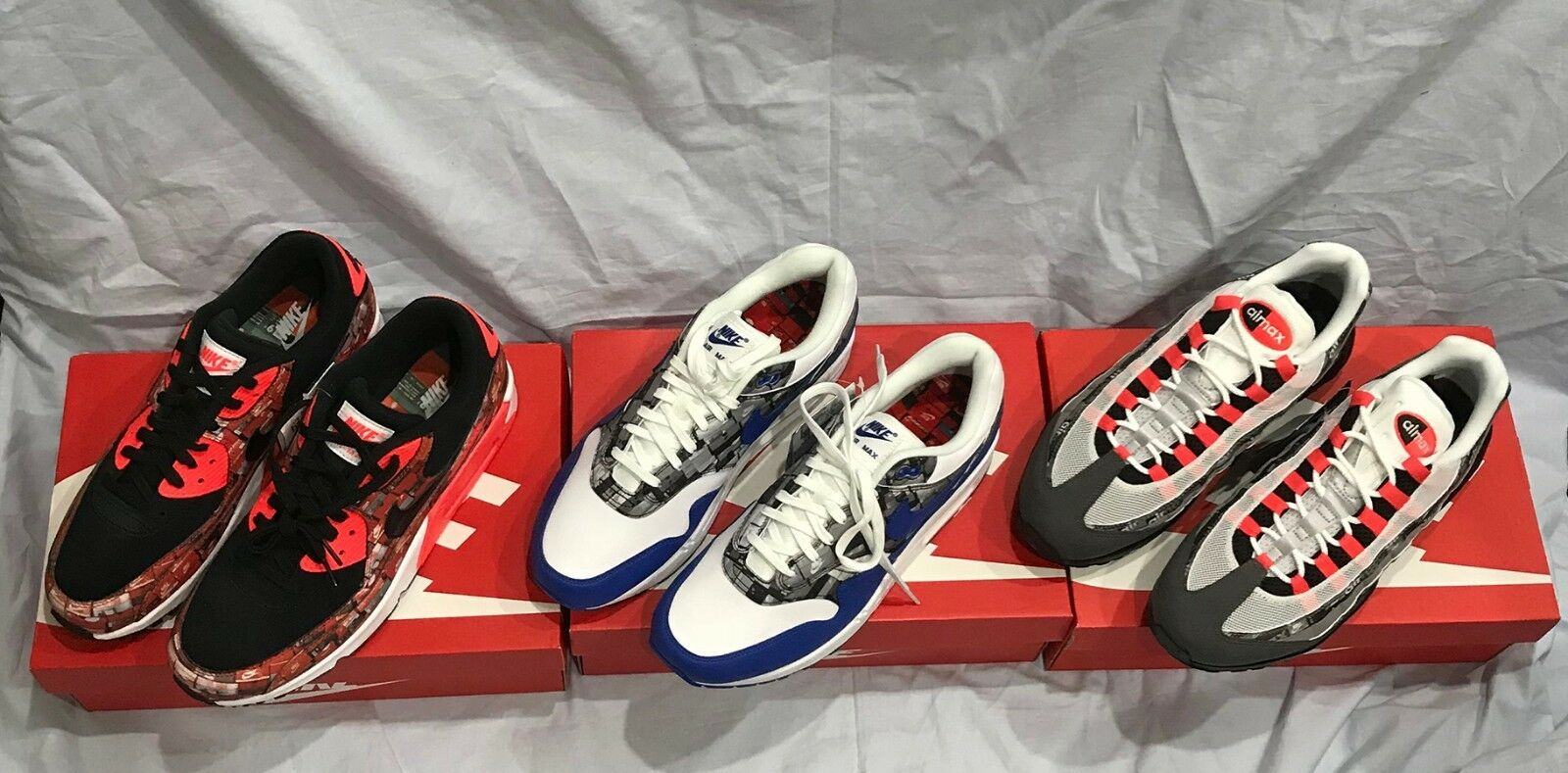 ATMOS NIKE AIR MAX 1, 90, 95 PRNT WE LOVE NIKE US11 3pcs Authentic Japan