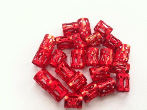50 Rouge Réglable Cheveux Poignets//Clips Pour Tresses 8x9mm Tubes dreadlocks etc