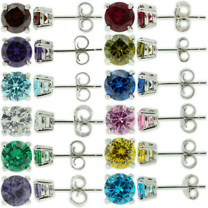 Sterling-Silver-925-Birthstone-Stud-Earrings-Round-Cut-CZ-Womens-Babys-Girls-Men