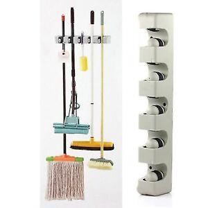 Organizer Wall Mounted Mop Holder Hanger 5 Position Home Kitchen Storage Broom