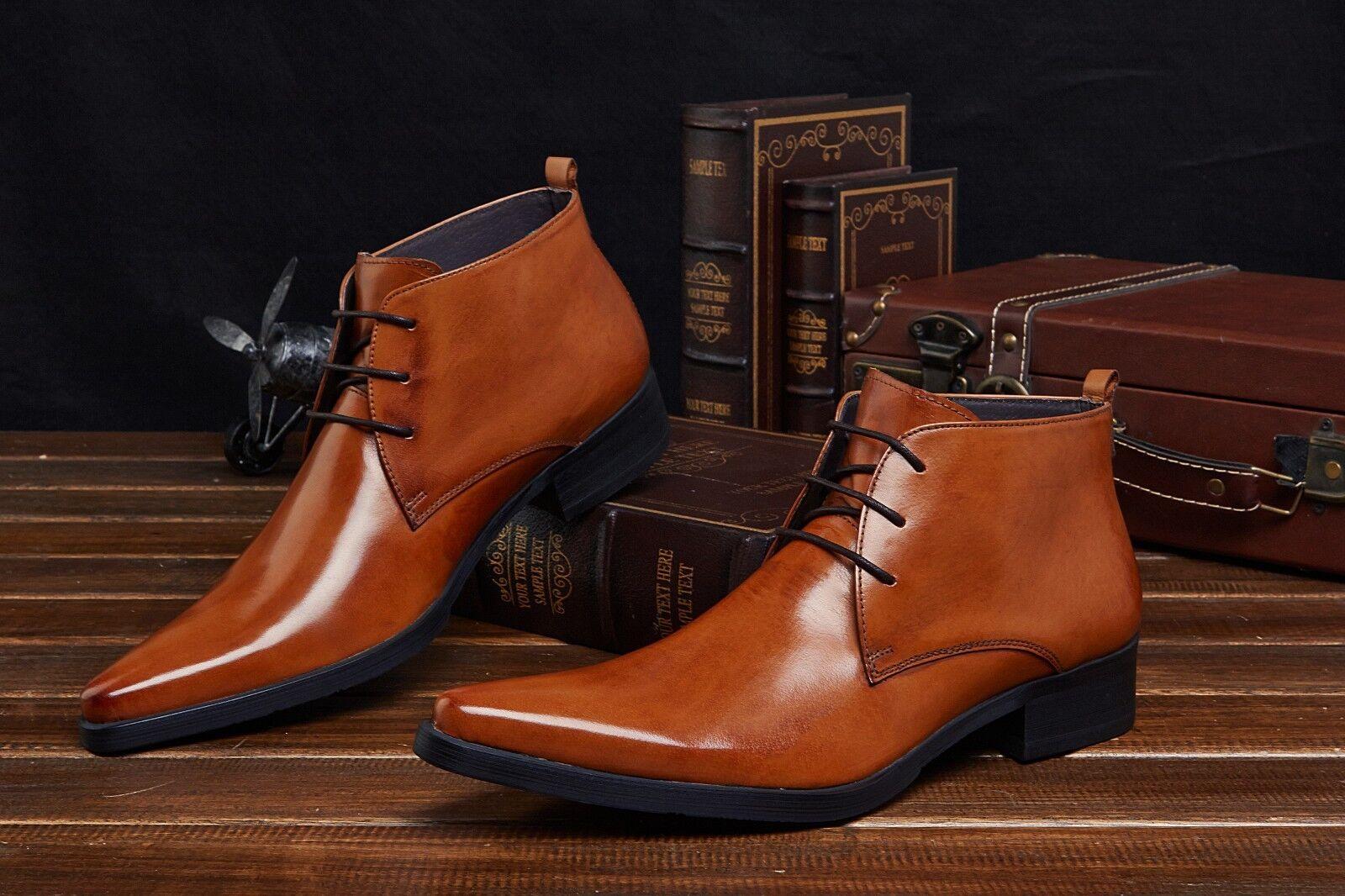 Nuevo Para Hombre De Cuero Real Botines formal Zapatos Con Encaje Negro Marrón h83870