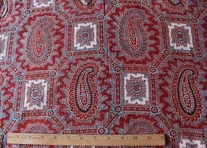 "Antique 19thc French Turkey Red Block Print Cotton Fabric~L-36"" X W-20"""