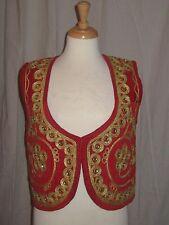 vtg HIPPY 70s PAKISTAN vest WAIST COAT red VELVET Gillet GOLD BULLION Nwt MED