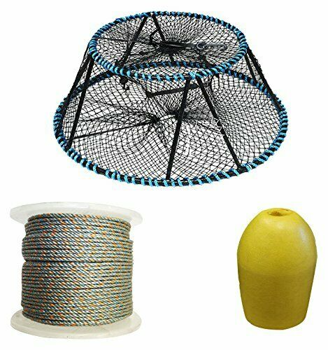KUFA Vinyl Coated Tower Style Prawn Trap, 400' Lead rope,Float CT130FYL403