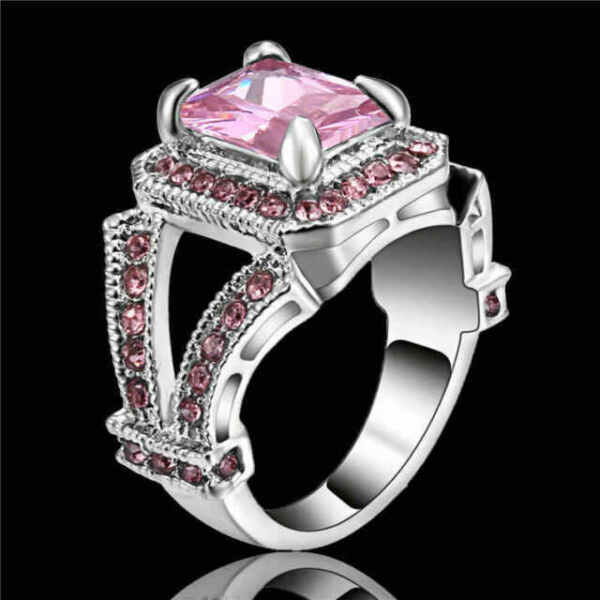Size 9 Elegant Pink Sapphire Engagement Wedding White