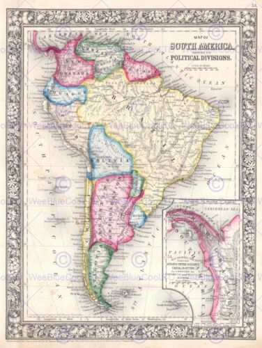 1864 MITCHELL MAP SOUTH AMERICA VINTAGE POSTER ART PRINT 2948PY