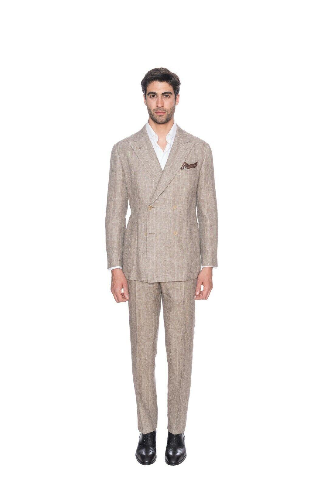 4295 D'AVENZA Light braun Wool Silk Linen Suit Double Breasted 40 US   50 EU