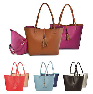 Women's Vegan Leather Purse Two Toned Classic 2-in-1 Reversible Tote Handbag
