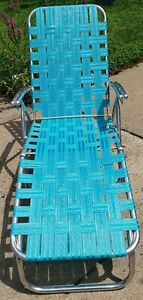 Vtg Aluminum Webbed Folding Reclining Lawn Chaise Lounge Chair Ocean Blue