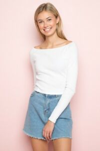 3a92e78a0add8 Image is loading Brandy-Melville-white-ribbed-crop-fitted-off-shoulder-