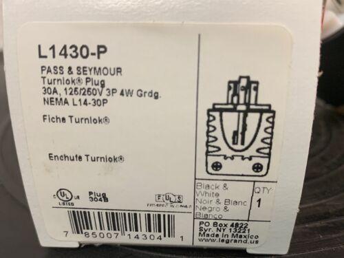 30A 240v Black 3-Wire Twist Turn Lock Male Generator L1430P RV