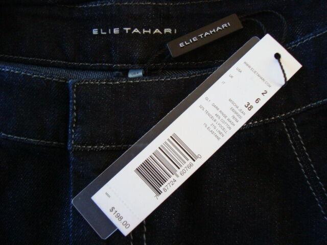 NWT 198 ELIE TAHARI MISCHA DARK RINSE Wash Skinny Leg Jeans Sz 2