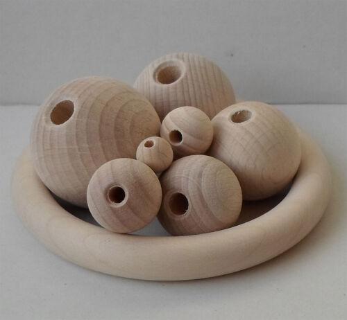esferas perlas Bala de madera 10 mm Ø con orificio de medio haya
