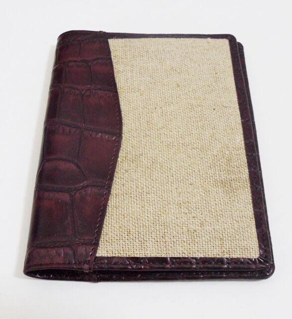 TRAFALGAR, Canvas / Alligator Leather Passport Case - Brown, NEW