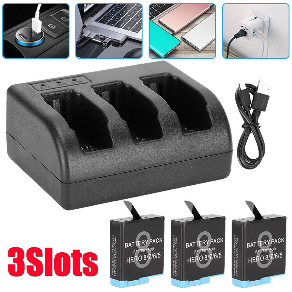AHDBT-801 1220mAh Battery Charger 3Slots For GoProHERO 2018/ 8/7/6/5