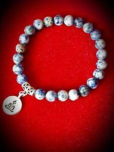 Unisex Bracelet HighQ Natural Stone White Blue Sodalite Yoga Buda Beads UKseller