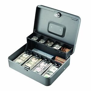 Steel Cantilever Cash Jewelry Box Gray 5 Compartments Drawers Money