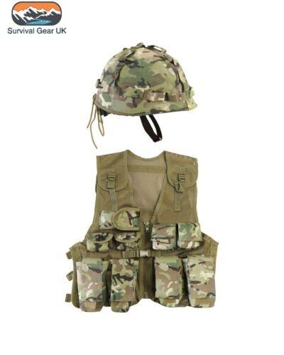 HELMET KIDS ARMY ASSAULT OUTFIT SOLDIER FANCY DRESS COSTUME BOYS BTP VEST