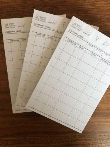 3 Books=300 Checks Waitress Order Pad Choice 1 Part White Waiter