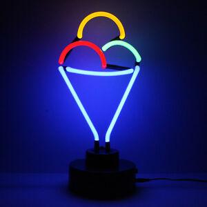 Luce Al Led.Dettagli Su Insegna Al Neon Gelato Pubblicita Al Dettaglio Cono Di Zucchero Non Led Luce Contatore A Finestra Mostra Il Titolo Originale