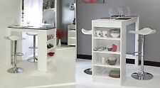Kitchen Breakfast Table Coffee Dining Furniture White Storage Rack High Tall Bar