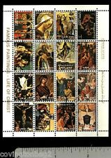 Ajman Famous Religious Paintings mini sheet of 16 stamps CTO Life of Christ