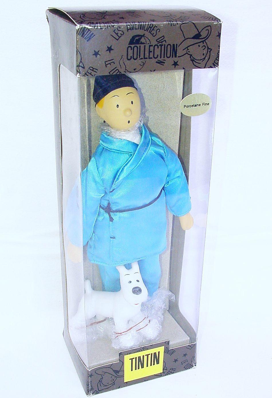 Hergé Collection TINTIN blueE LOTUS + SNOWY 10  Porcelain Figure MIB`94 TOP RARE