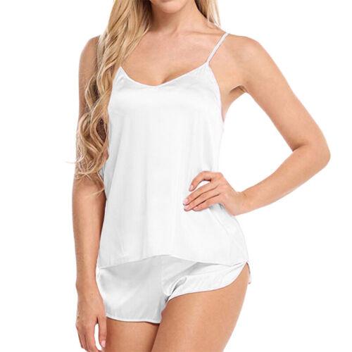 Women Pyjamas Sleepwear Nightwear Ladies Lingerie Satin Silk Nightgown Set