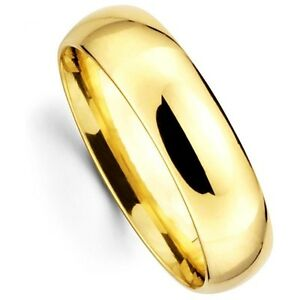 Mens Women Solid 14K Yellow Gold Plain Wedding Ring Band Comfort Fit 6MM Size 7