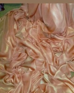 "GOLD SHIMMER  DRESS CHIFFON FABRIC 58/"" WIDE 1M peach"
