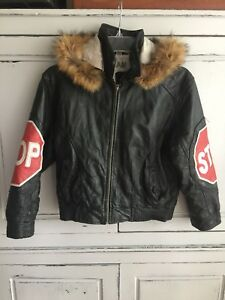 13dc9f220 Details about RARE Vintage Desert Well Stop Sign Leather Bomber Jacket Hip  Hop Rap 90's