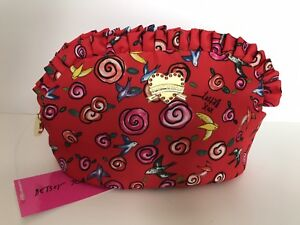 NWT-BETSEY-JOHNSON-COSMETIC-MAKEUP-BAG-MINI-RUFFLE-RED-COLORFUL-BIRDS-SWIRLS