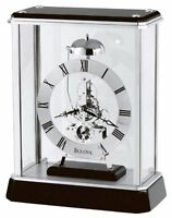 Bulova Vantage Analog Quartz Black Gloss Wood And Glass Mantel Clock B2023