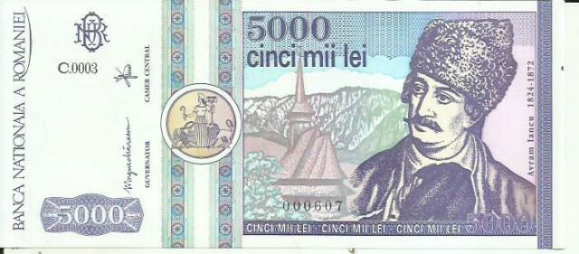ROMANIA 5000 LEI 1992  P103  UNC CONDITION. 3RW 15 SET