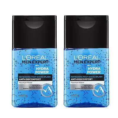 2 x L'Oreal Men Hydra Power Refreshing Post Shave Gel 125ml 24 Hour Hydration