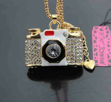 D529H   Betsey Johnson Crystal Enamel camera Pendant Sweater Necklace