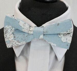 Bow Tie. Dusty Blue With Floral . Premium Quality. Pre-tied. Bv194