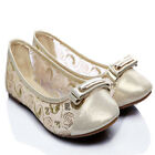 New Girls Lace Dreamy Wedding Ballet Comfy Flats Classic Ladies Casual Shoes SL