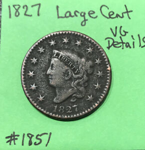 1827-Matron-Head-Large-Cent-US-Early-Copper-Coin-Tough-Date-Vg-Very-Good-Detai