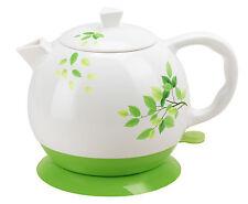 Teapot Ceramic Kettle Electric Kettle Water Boiler Green Olive Design 12029
