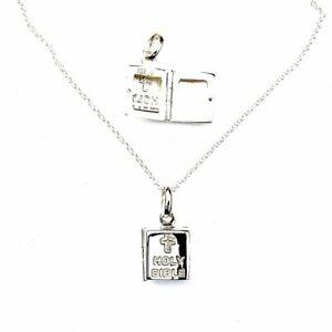 Argento-Sterling-Sacra-Bibbia-Apertura-Medaglione-Collana-Croce-Religioso