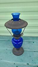 Vintage década de 1970 Azul Cobalto Lámpara de Aceite de estilo de ferrocarril